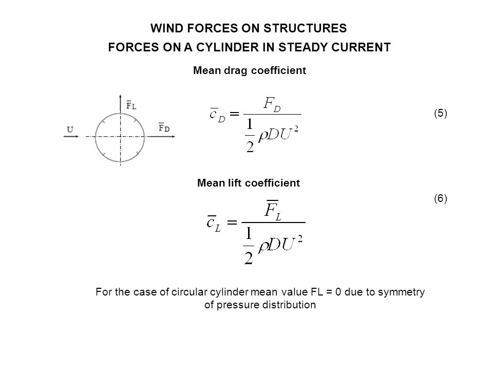 WIND FORCES ON STRUCTURES FORCES ON A CYLINDER IN STEADY CURRENT Mean drag coefficient (5) For the case of circular cylinder mean value FL = 0 due to
