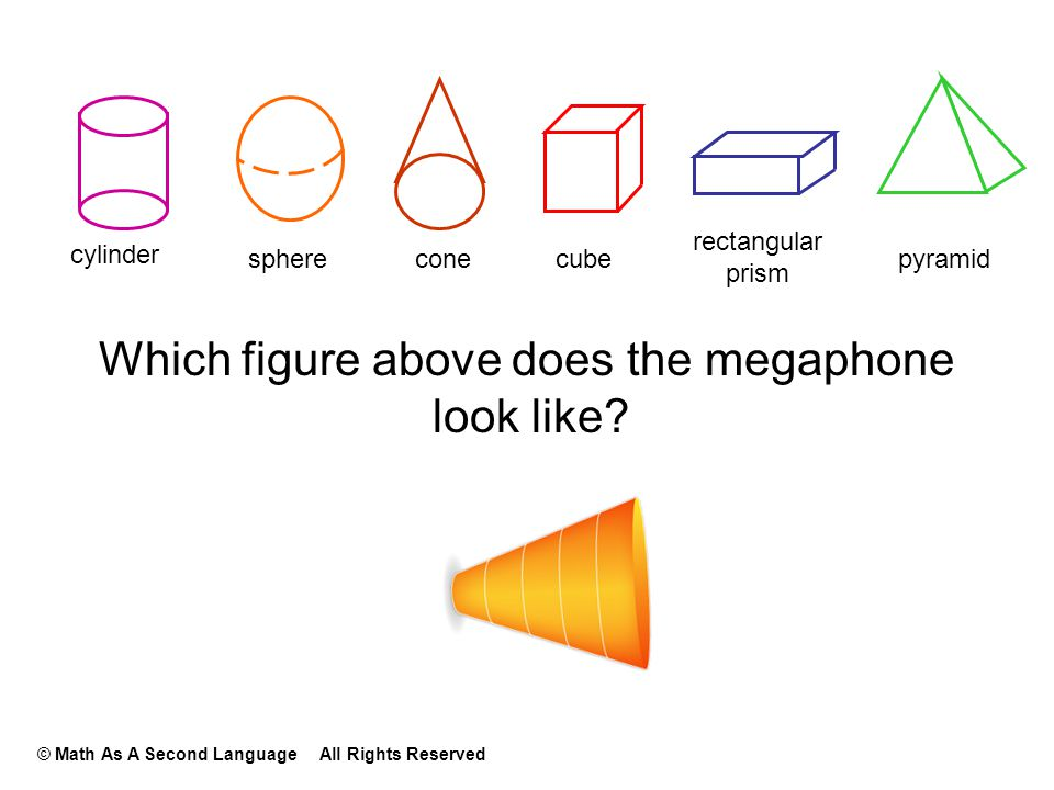 Which figure above does the megaphone look like? cylinder sphereconecube rectangular prism pyramid © Math As A Second Language All Rights Reserved