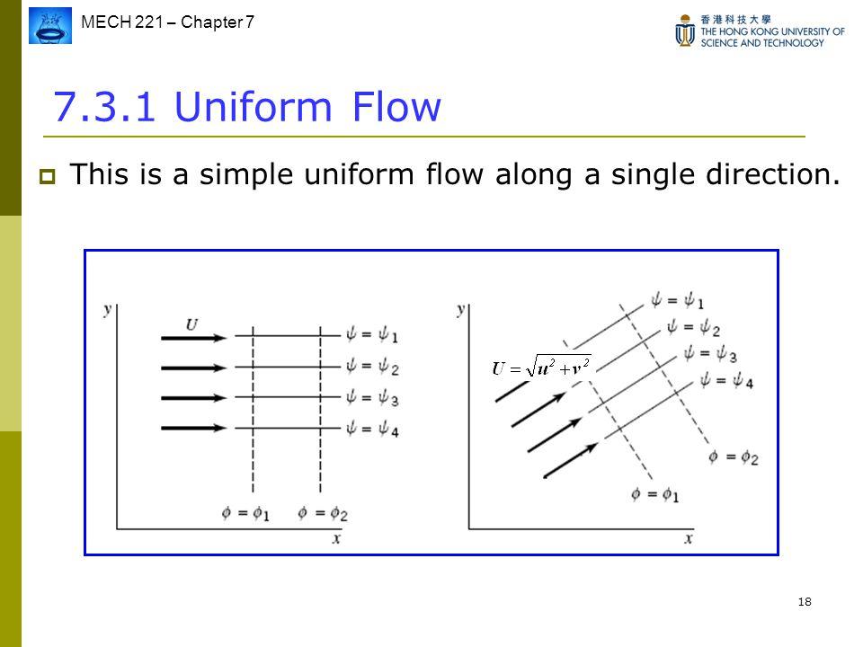 MECH 221 – Chapter 7 18 7.3.1 Uniform Flow  This is a simple uniform flow along a single direction.