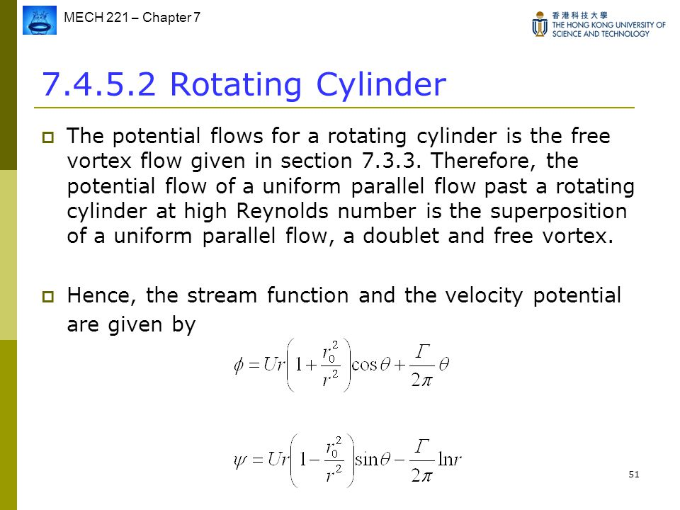 MECH 221 – Chapter 7 51 7.4.5.2 Rotating Cylinder  The potential flows for a rotating cylinder is the free vortex flow given in section 7.3.3. Theref