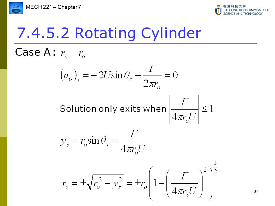MECH 221 – Chapter 7 54 7.4.5.2 Rotating Cylinder