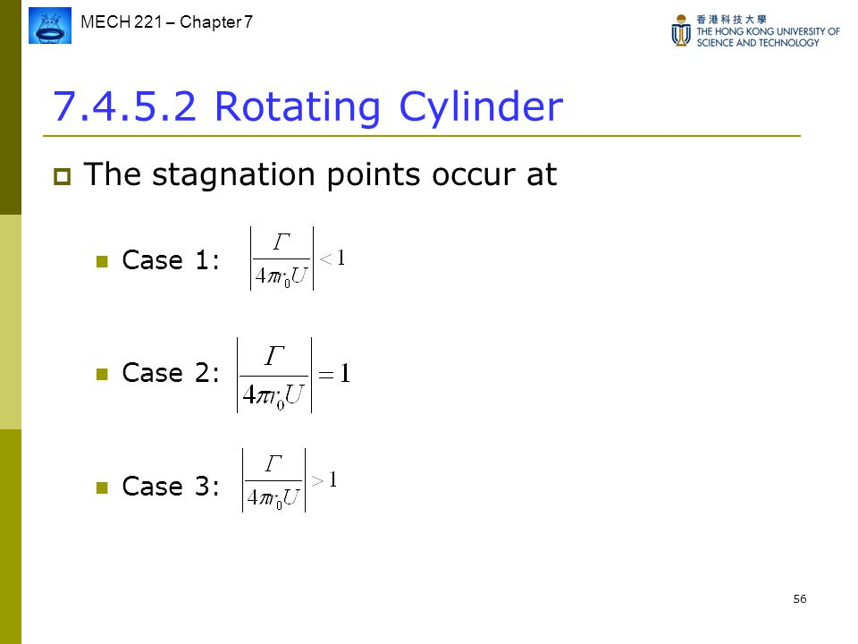 MECH 221 – Chapter 7 56 7.4.5.2 Rotating Cylinder  The stagnation points occur at Case 1: Case 2: Case 3: