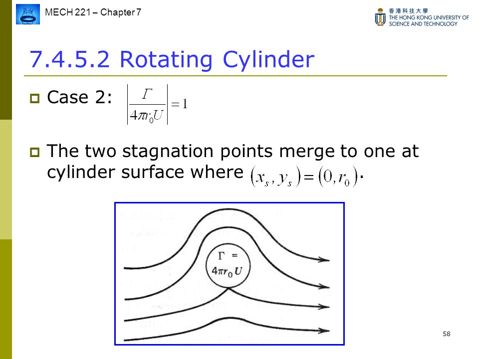 MECH 221 – Chapter 7 58 7.4.5.2 Rotating Cylinder  Case 2:  The two stagnation points merge to one at cylinder surface where.