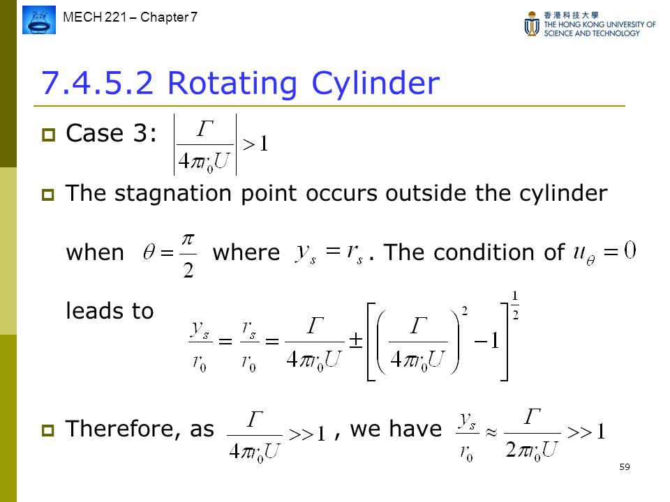 MECH 221 – Chapter 7 59 7.4.5.2 Rotating Cylinder  Case 3:  The stagnation point occurs outside the cylinder when where. The condition of leads to 