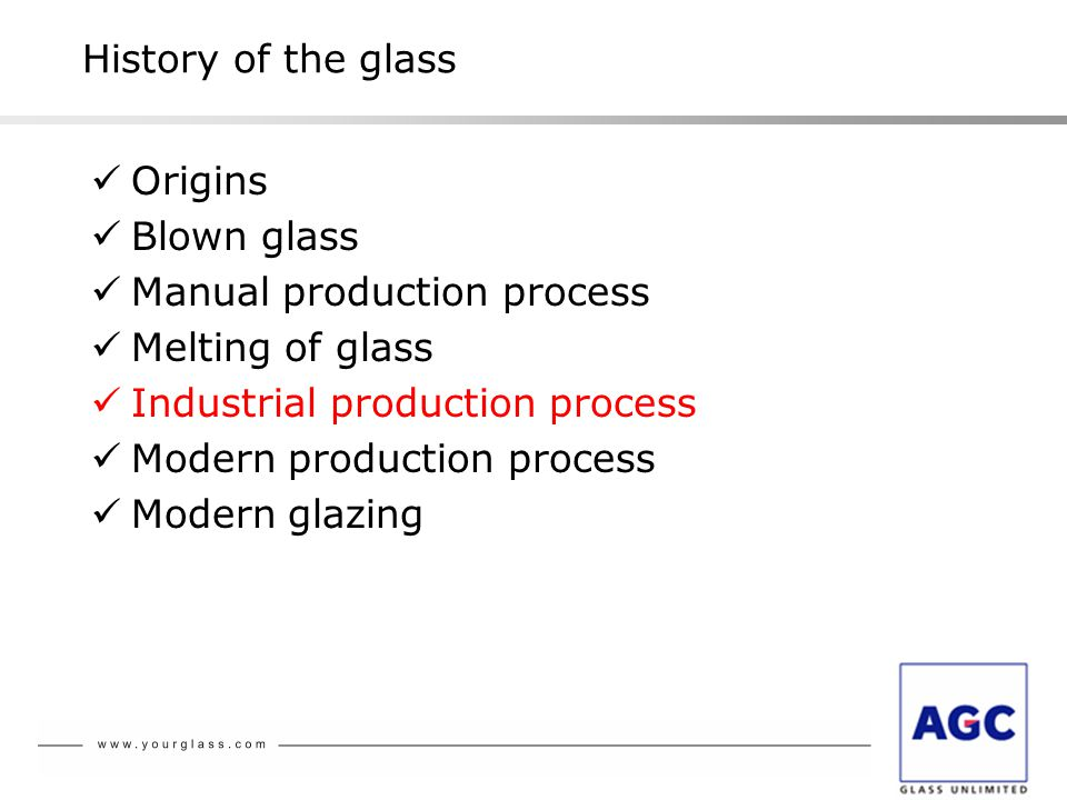 Origins Blown glass Manual production process Melting of glass Industrial production process Modern production process Modern glazing