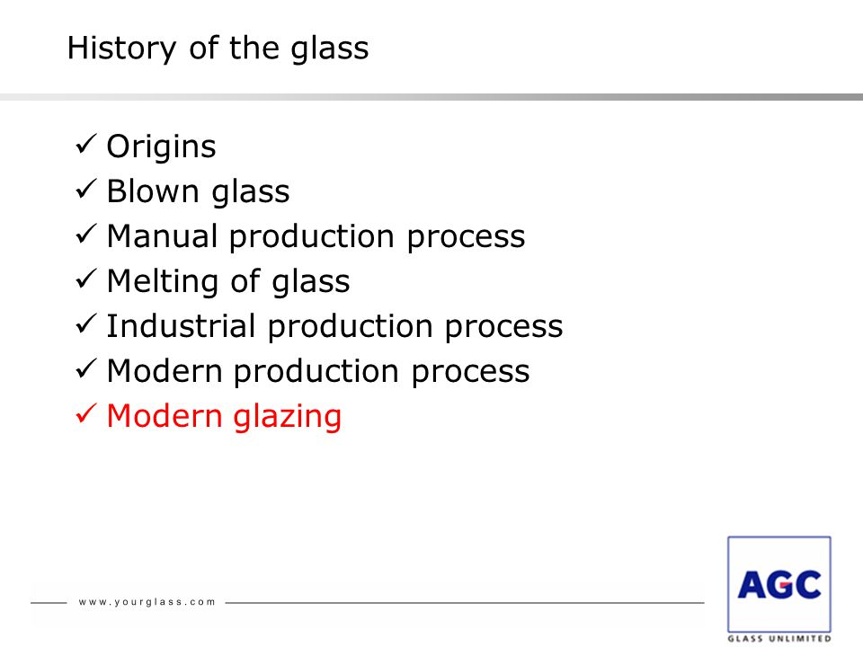 History of the glass Origins Blown glass Manual production process Melting of glass Industrial production process Modern production process Modern glazing