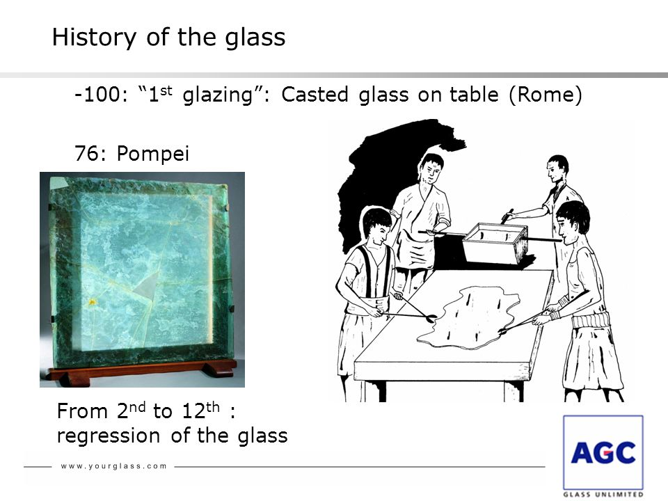 History of the glass -100: 1 st glazing : Casted glass on table (Rome) 76: Pompei From 2 nd to 12 th : regression of the glass