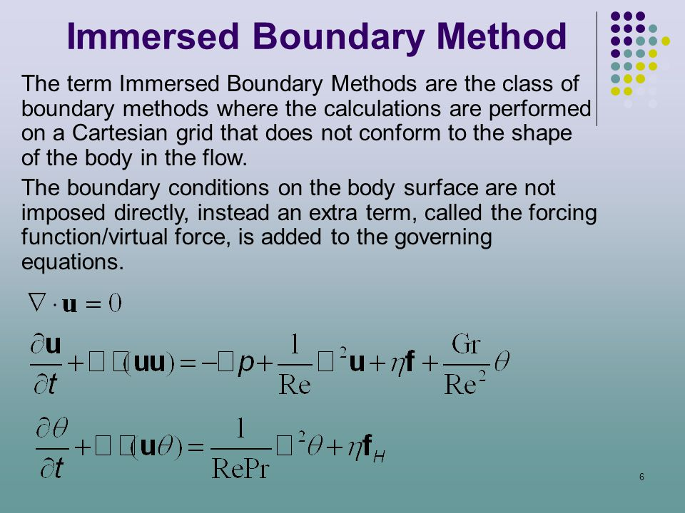 6 The term Immersed Boundary Methods are the class of boundary methods where the calculations are performed on a Cartesian grid that does not conform
