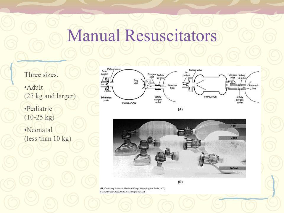Manual Resuscitators Three sizes: Adult (25 kg and larger) Pediatric (10-25 kg) Neonatal (less than 10 kg)