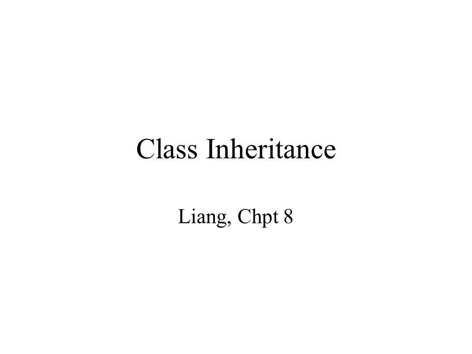 Class Inheritance Liang, Chpt 8