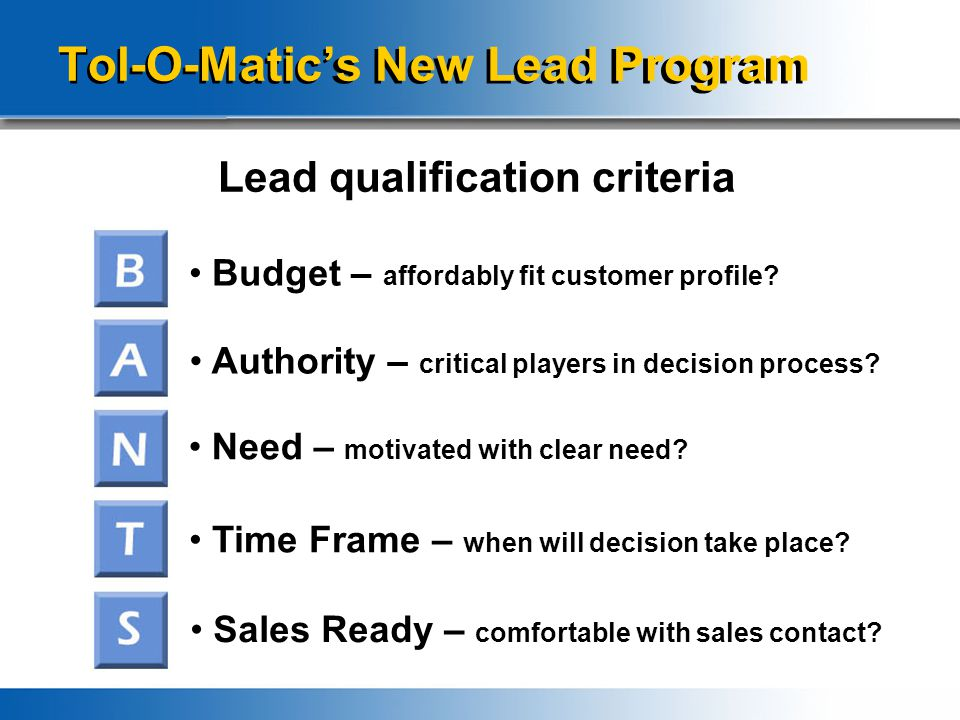 Tol-O-Matic's New Lead Program Lead qualification criteria Budget – affordably fit customer profile.