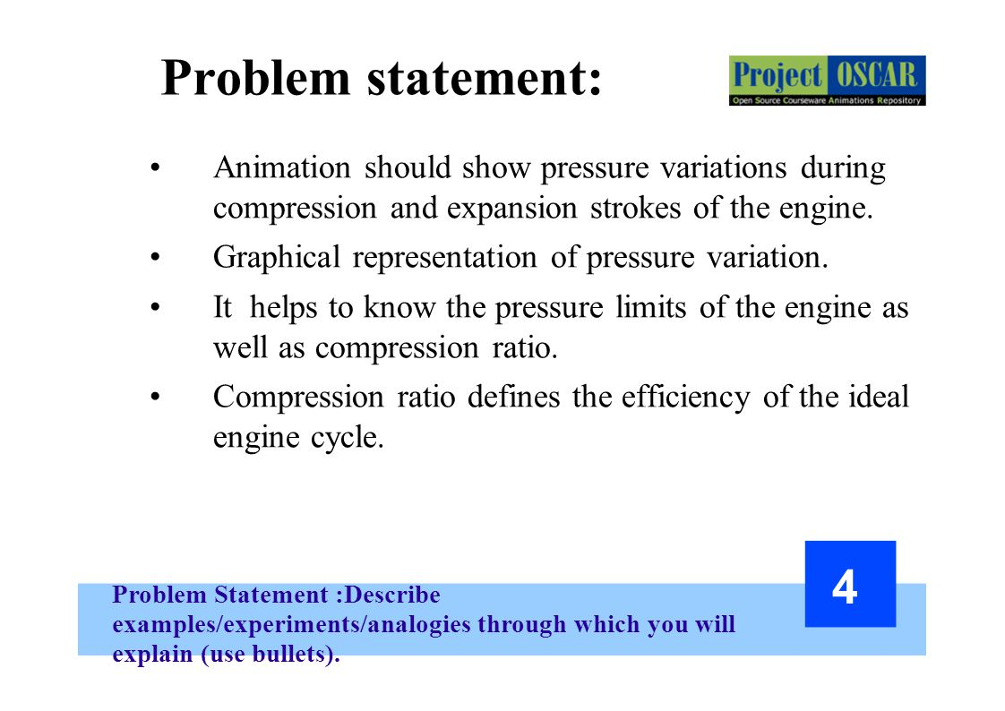 Problem Statement :Describe examples/experiments/analogies through which you will explain (use bullets). 4 Problem statement: Animation should show pr
