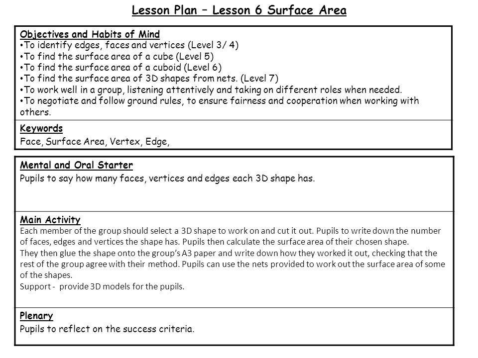 Lesson Plan – Lesson 6 Surface Area Mental and Oral Starter Pupils to say how many faces, vertices and edges each 3D shape has.