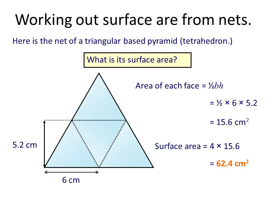 Here is the net of a triangular based pyramid (tetrahedron.) Working out surface are from nets.