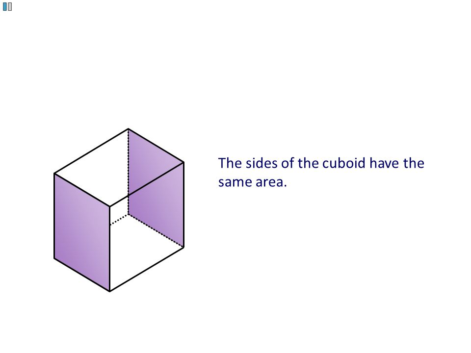 The sides of the cuboid have the same area.