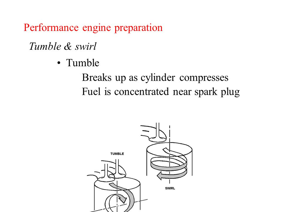 Performance engine preparation Tumble & swirl Tumble Breaks up as cylinder compresses Fuel is concentrated near spark plug