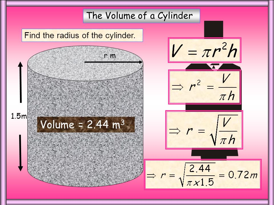 The Volume of a Cylinder Find the height of the cylinder. h m 6m Volume = 56.5 m 3