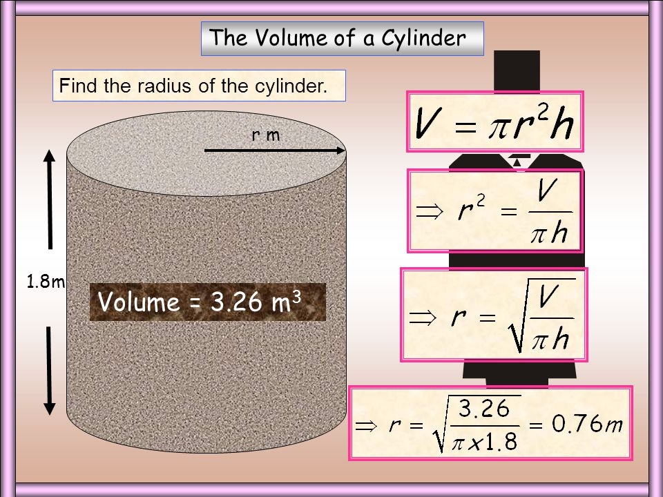 The Volume of a Cylinder Find the height of the cylinder. h m 8m Volume = 72.1 m 3