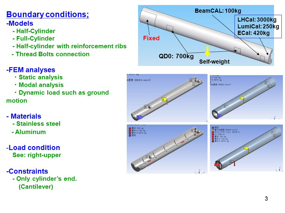 3 Boundary conditions; -Models - Half-Cylinder - Full-Cylinder - Half-cylinder with reinforcement ribs - Thread Bolts connection -FEM analyses ・ Static analysis ・ Modal analysis ・ Dynamic load such as ground motion - Materials - Stainless steel - Aluminum -Load condition See: right-upper -Constraints - Only cylinder's end.