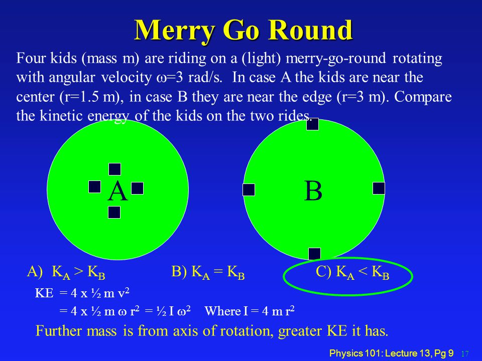 Physics 101: Lecture 13, Pg 9 Merry Go Round KE = 4 x ½ m v 2 = 4 x ½ m  r 2 = ½ I  2 Where I = 4 m r 2 Further mass is from axis of rotation, great