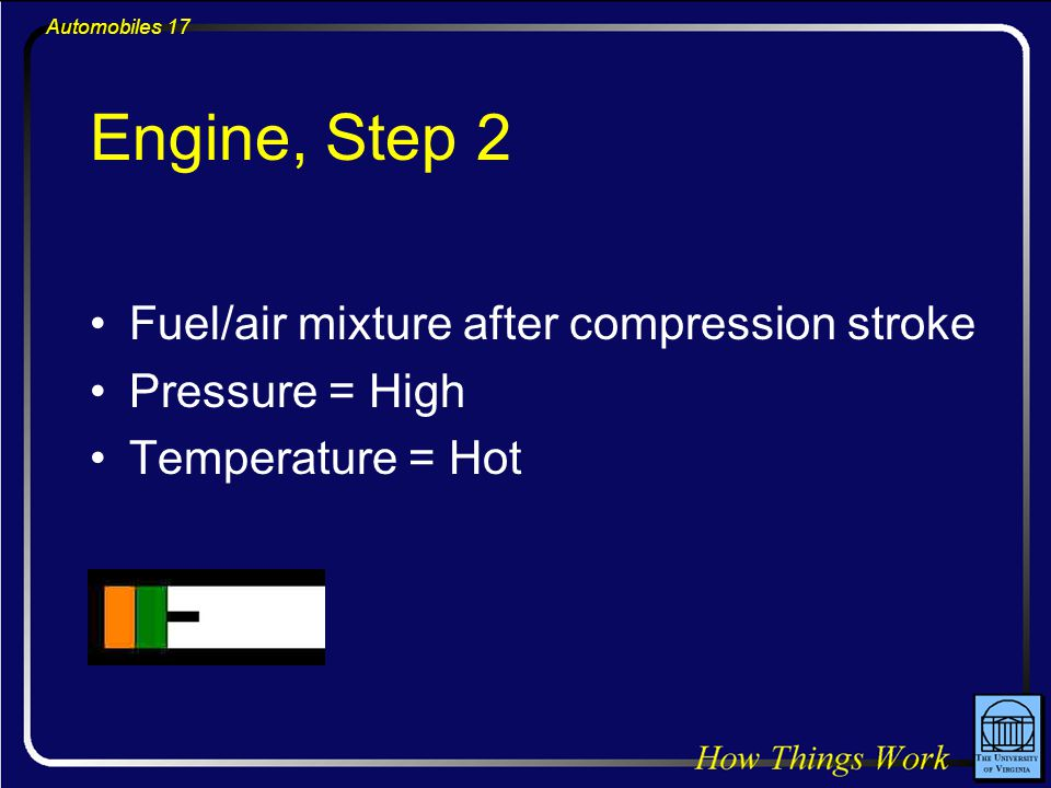 Automobiles 17 Engine, Step 2 Fuel/air mixture after compression stroke Pressure = High Temperature = Hot