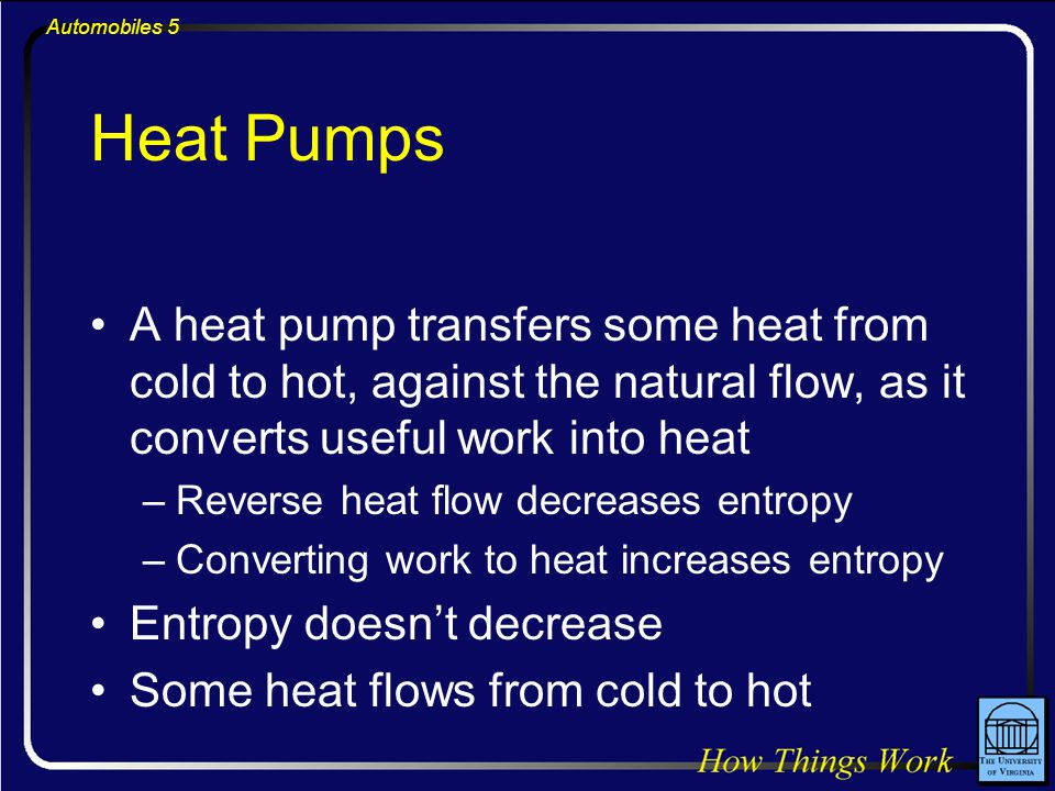 Automobiles 5 Heat Pumps A heat pump transfers some heat from cold to hot, against the natural flow, as it converts useful work into heat –Reverse heat flow decreases entropy –Converting work to heat increases entropy Entropy doesn't decrease Some heat flows from cold to hot