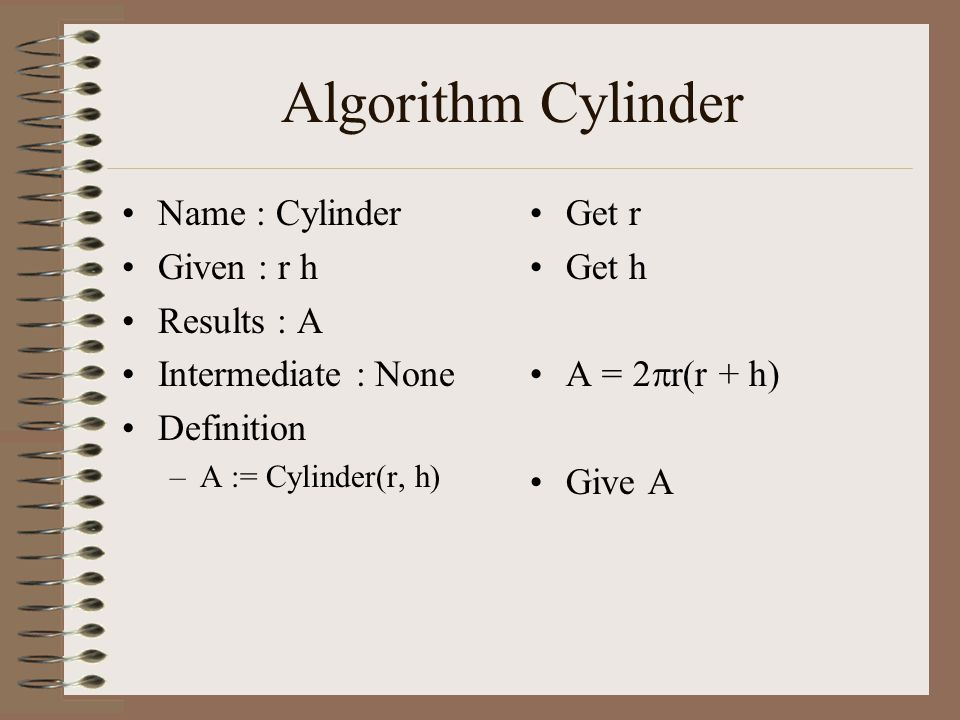Algorithm Cylinder Name : Cylinder Given : r h Results : A Intermediate : None Definition –A := Cylinder(r, h) Get r Get h A = 2  r(r + h) Give A