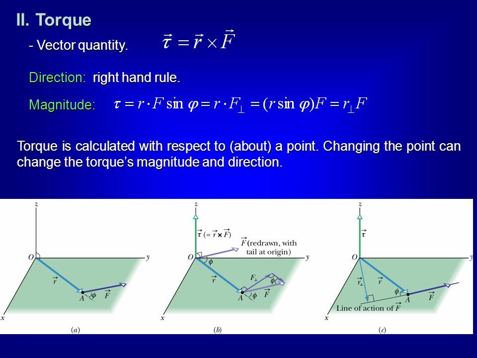 - Vector quantity - Vector quantity. Direction: right hand rule. Magnitude: Torque is calculated with respect to (about) a point. Changing the point c