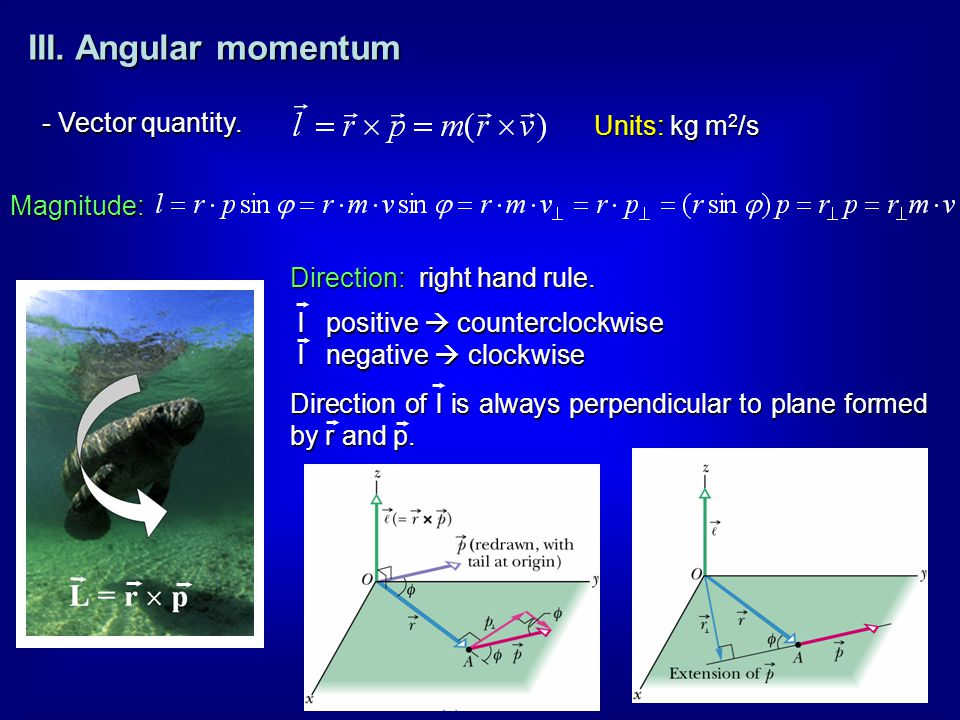III. Angular momentum - Vector quantity. Direction: right hand rule. Magnitude: l positive  counterclockwise l negative  clockwise Direction of l is