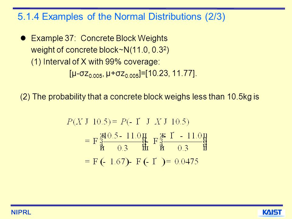 NIPRL 5.1.4 Examples of the Normal Distributions (2/3) Example 37: Concrete Block Weights weight of concrete block~N(11.0, 0.3 2 ) (1) Interval of X with 99% coverage: [μ-σz 0.005, μ+σz 0.005 ]=[10.23, 11.77].