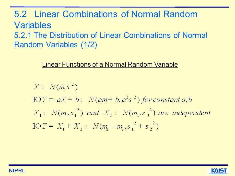 NIPRL 5.2 Linear Combinations of Normal Random Variables 5.2.1 The Distribution of Linear Combinations of Normal Random Variables (1/2) Linear Functions of a Normal Random Variable