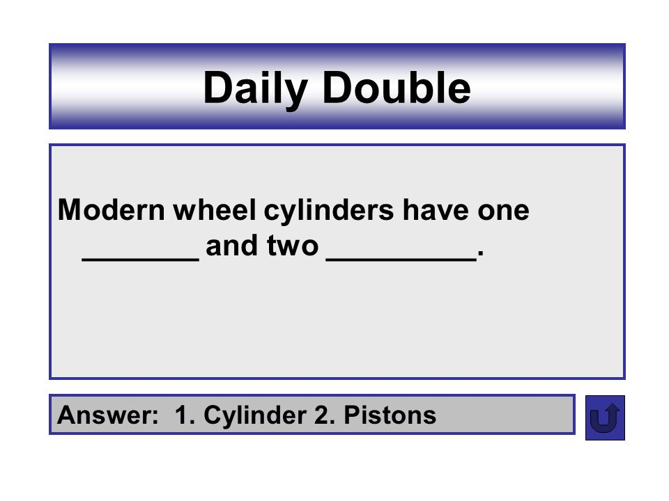 Daily Double Modern wheel cylinders have one _______ and two _________. Answer: 1. Cylinder 2. Pistons