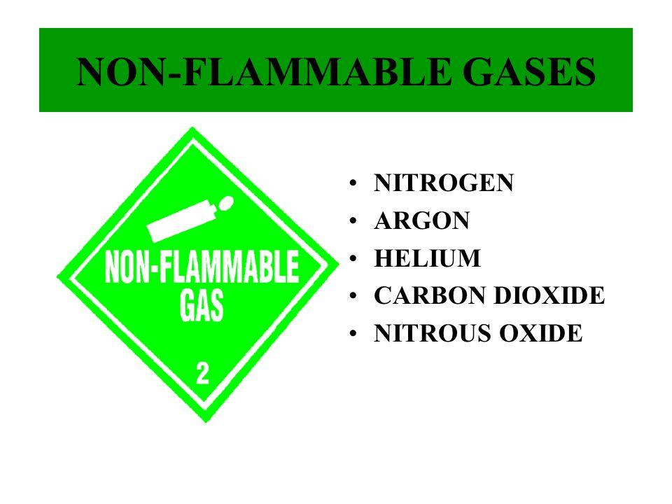 NON-FLAMMABLE GASES NITROGEN ARGON HELIUM CARBON DIOXIDE NITROUS OXIDE
