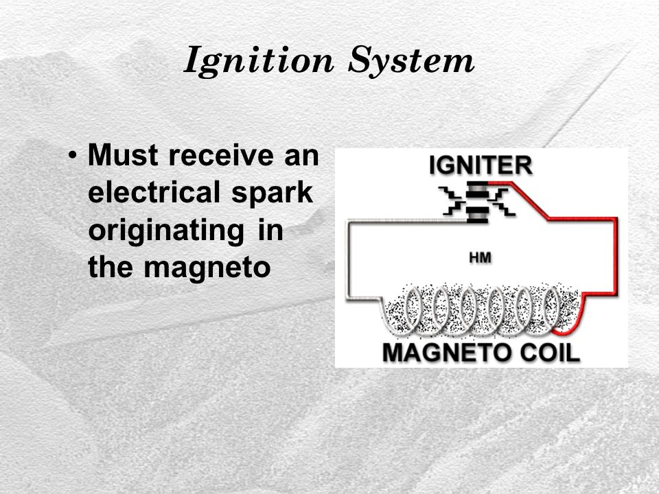 Ignition System Must receive an electrical spark originating in the magneto