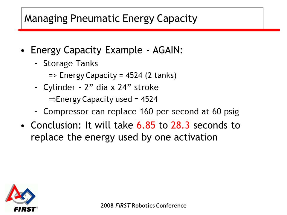 2008 FIRST Robotics Conference Managing Pneumatic Energy Capacity Energy Capacity Example - AGAIN: –Storage Tanks => Energy Capacity = 4524 (2 tanks) –Cylinder - 2 dia x 24 stroke  Energy Capacity used = 4524 –Compressor can replace 160 per second at 60 psig Conclusion: It will take 6.85 to 28.3 seconds to replace the energy used by one activation