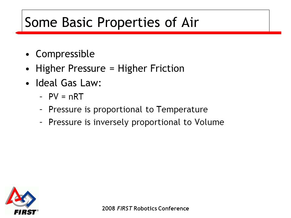 2008 FIRST Robotics Conference Some Basic Properties of Air Compressible Higher Pressure = Higher Friction Ideal Gas Law: –PV = nRT –Pressure is propo