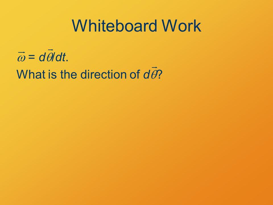 Rotational Work W = F·ds ds F R dd W = F · (d   R)