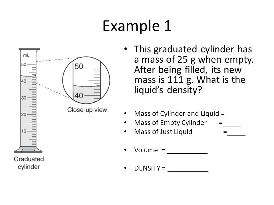 Example 2 This graduated cylinder has a mass of 50 g when empty.