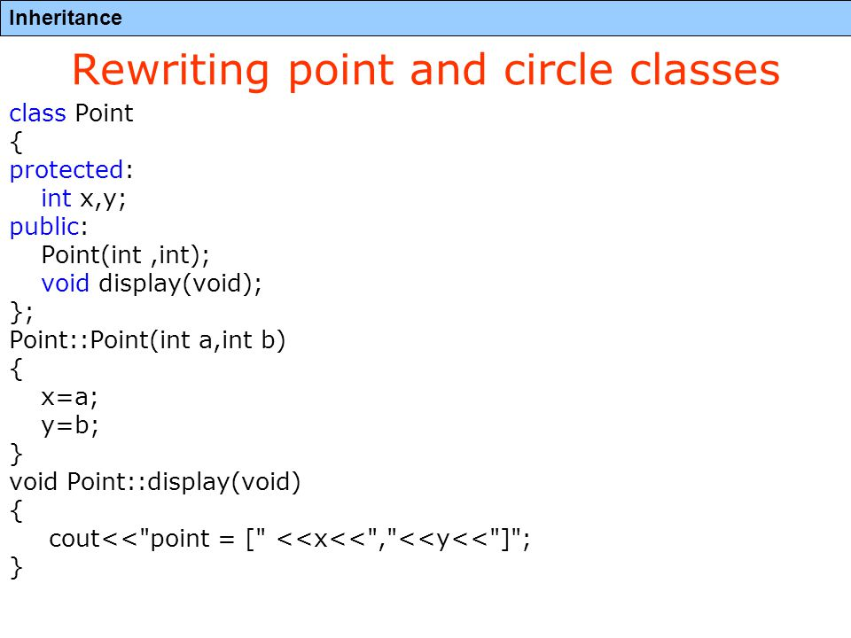 Inheritance Rewriting point and circle classes class Point { protected: int x,y; public: Point(int,int); void display(void); }; Point::Point(int a,int b) { x=a; y=b; } void Point::display(void) { cout<< point = [ <<x<< , <<y<< ] ; }