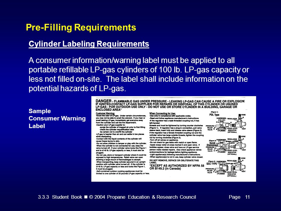 3.3.3 Student Book © 2004 Propane Education & Research CouncilPage 11 Pre-Filling Requirements Cylinder Labeling Requirements A consumer information/w