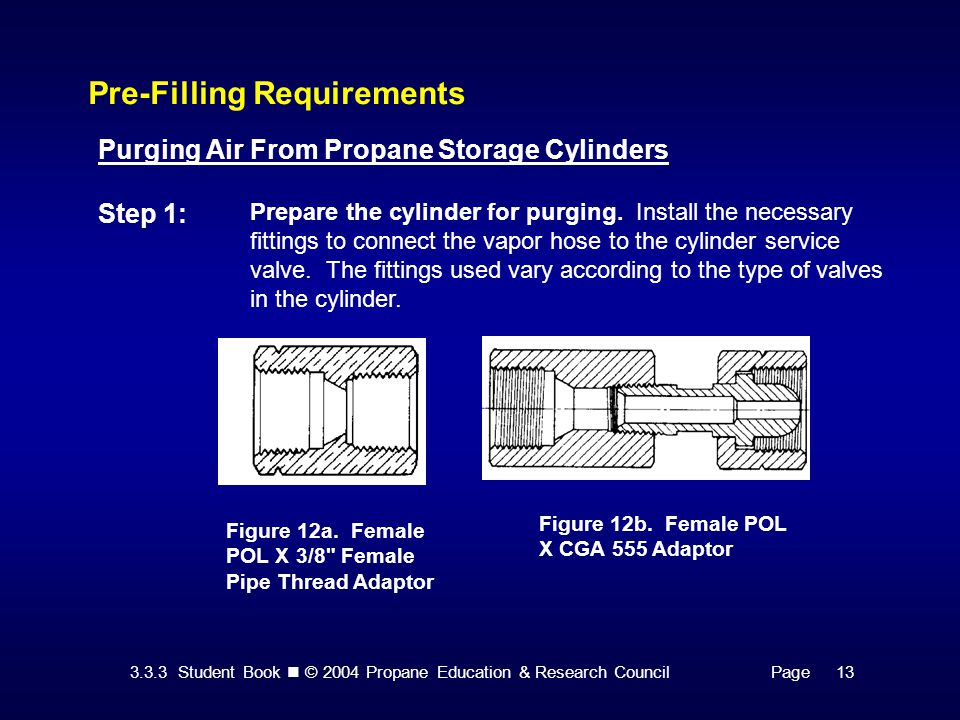 3.3.3 Student Book © 2004 Propane Education & Research CouncilPage 13 Pre-Filling Requirements Purging Air From Propane Storage Cylinders Step 1: Prep