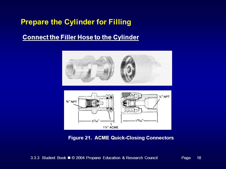 3.3.3 Student Book © 2004 Propane Education & Research CouncilPage 18 Prepare the Cylinder for Filling Connect the Filler Hose to the Cylinder Figure 21.