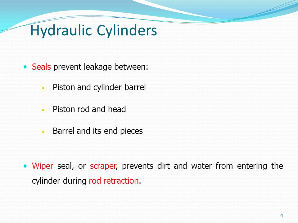 Hydraulic Cylinders Seals prevent leakage between: Piston and cylinder barrel Piston rod and head Barrel and its end pieces Wiper seal, or scraper, pr