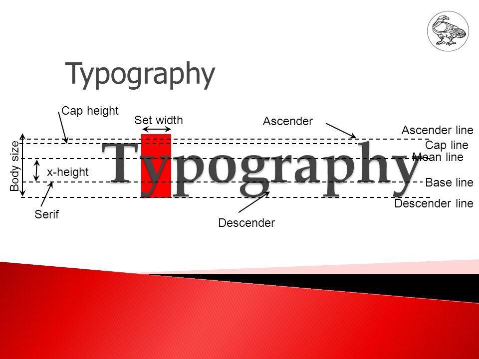 Cap height Serif Descender Ascender Set width Ascender line Cap line Mean line Base line Descender line x-height Body size Typography