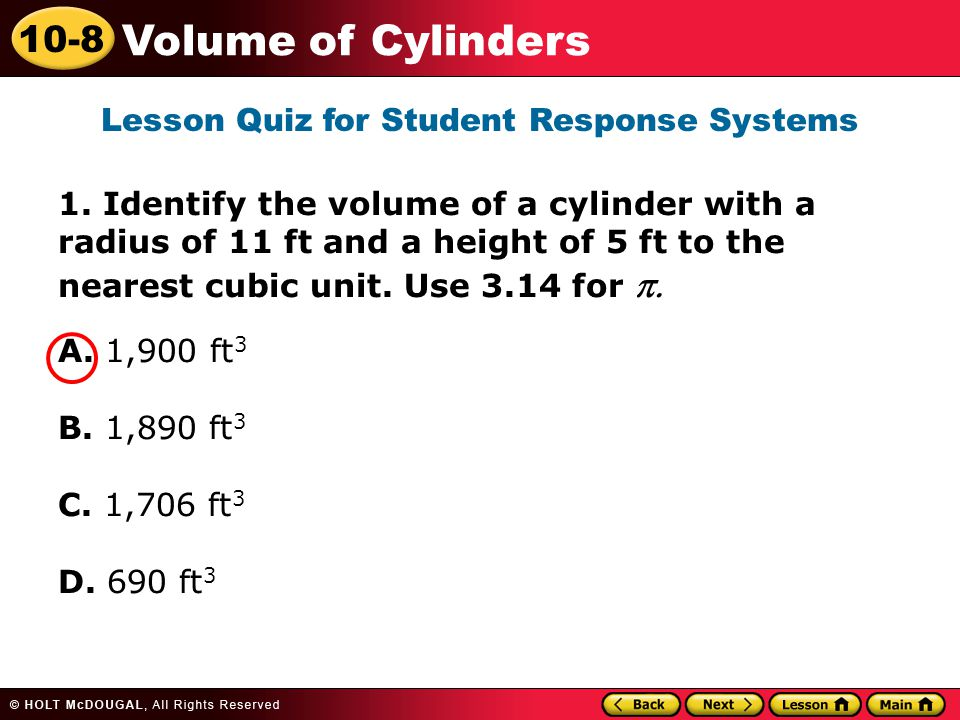 10-8 Volume of Cylinders 1.