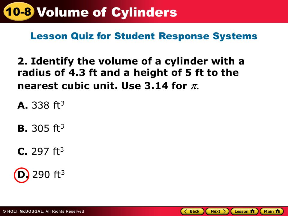 10-8 Volume of Cylinders 2.