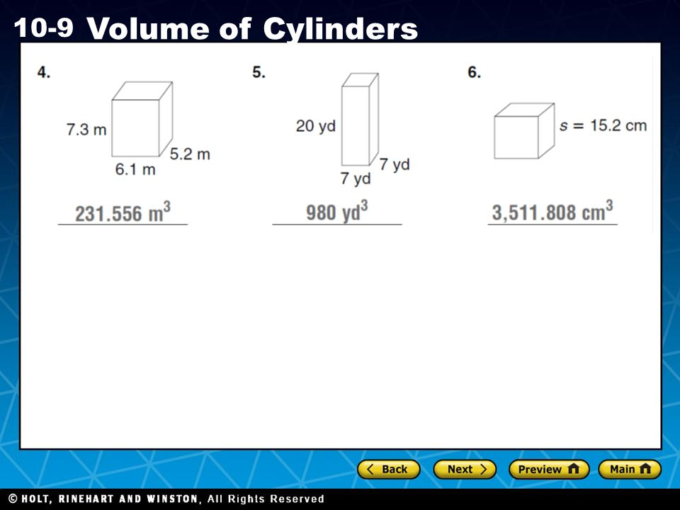 Holt CA Course 1 10-9 Volume of Cylinders