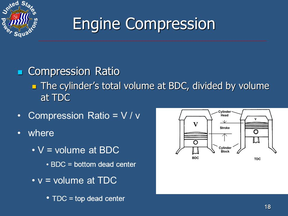 18 Engine Compression Compression Ratio Compression Ratio The cylinder's total volume at BDC, divided by volume at TDC The cylinder's total volume at BDC, divided by volume at TDC Compression Ratio = V / v where V = volume at BDC BDC = bottom dead center v = volume at TDC TDC = top dead center