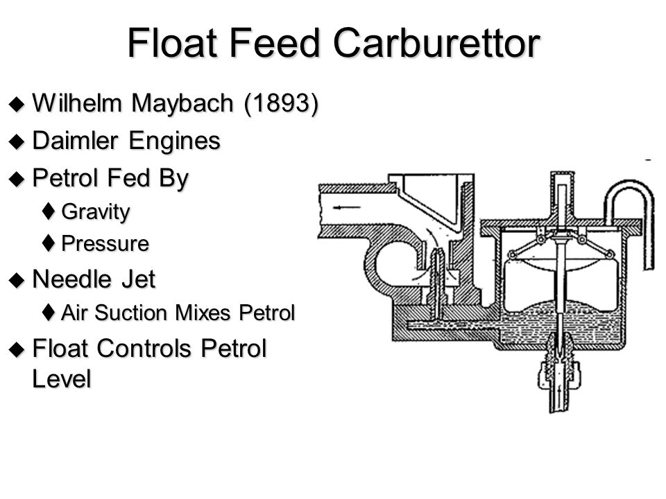 Float Feed Carburettor  Wilhelm Maybach (1893)  Daimler Engines  Petrol Fed By  Gravity  Pressure  Needle Jet  Air Suction Mixes Petrol  Float