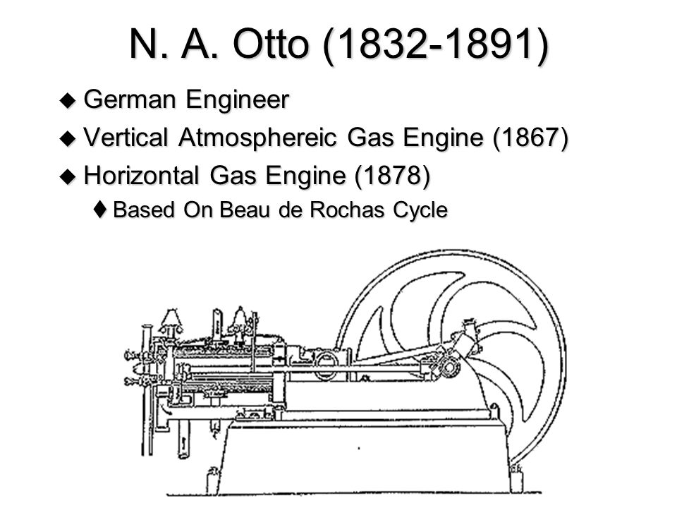 N. A. Otto (1832-1891)  German Engineer  Vertical Atmosphereic Gas Engine (1867)  Horizontal Gas Engine (1878)  Based On Beau de Rochas Cycle